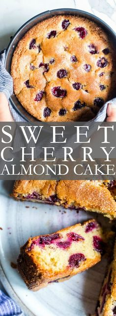 Fresh Cherry Cake Recipe, Cherry And Almond Cake, Almond Cakes, Cherry Recipes With Fresh Cherries, Sweet Cherry Recipes, Easy No Bake Desserts, Köstliche Desserts, Delicious Desserts, Dessert Recipes