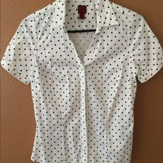 Blouse White with black polka dots. Short sleeve button down. Great condition. Xtra small but fits a small. 212 collection Tops Blouses