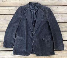 Vintage SHEPLERS Black Denim 2-Button Western Cowboy Sport Coat Blazer Men's 46L #Shelpers #TwoButton