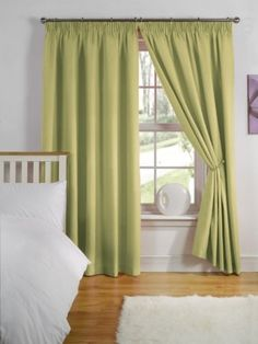 Pair Of Simply Style Pencil Pleat Thermal Backed Light Reducing Curtains in 11 Colours  Width 66 x Drop 72 (Olive Green)