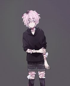 Pastel soft Guro anime boy art