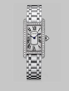 Cartier - Tank Americaine 18K White Gold & Diamond Watch, Small - Saks.com