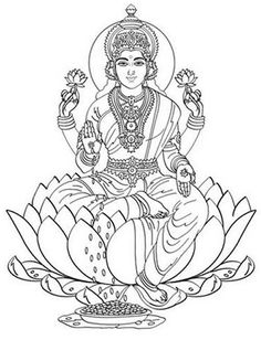 Hindu Mythology (Gods and Goddesses) – Printable coloring pages Ganesha Drawing, Ganesha Painting, Ganesha Art, Krishna Art, Kerala Mural Painting, Tanjore Painting, Goddess Tattoo, Goddess Art, Outline Drawings
