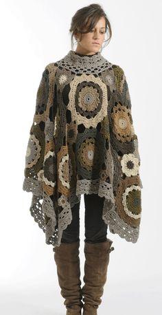 Granny circles crochet poncho, French company