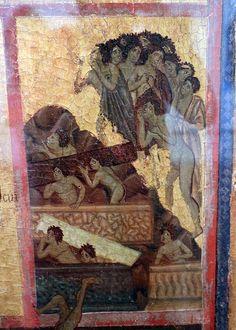 Guido da Siena e aiuti - I dannati dettaglio dal Giudizio finale - 1280 circa - tempera su tavola - Grosseto, Museo archeologico e d'arte della Maremma