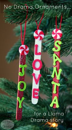 Popsicle Stick Ornaments for a Llama Drama Story is part of Kids Crafts Popsicle Sticks - Popsicle stick ornaments about what's really important at Christmas A fun preschool or kindergarten craft that goes with a holiday Llama Llama book Christmas Ornament Crafts, Preschool Christmas, Noel Christmas, Christmas Crafts For Kids, Christmas Activities, Craft Stick Crafts, Homemade Christmas, Holiday Crafts, Christmas Gifts