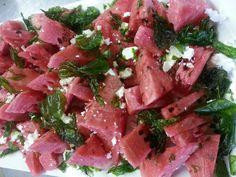 Watermelon and deep fried basil salad