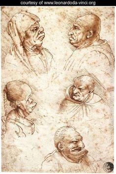 Five Caricature Heads - Leonardo Da Vinci - www.leonardoda-vinci.org