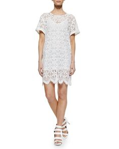 Le Boyfriend Lace Dress, Blanc by FRAME at Neiman Marcus.