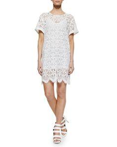 Le Boyfriend Lace Dress, Blanc by FRAME at Neiman Marcus.