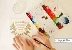 Learn to do this!DIY Tutorial: Botanical Watercolor Save the Date by Antiquaria via Oh So Beautiful Paper Botanical Wedding Stationery, Wedding Stationary, Contour, Watercolor Art Diy, Watercolor Wedding, Diy Photo, Paper Cards, Diy Tutorial, Save The Date