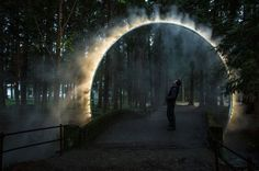 "[orginial_title] – Mauricio Cordel A Sculptural Arch Of Mist Has Been Installed In Japan Australian artist James Tapscott was commissioned by the Japan Alps Art Festival to great a site-specific art piece, which he named ""ARC ZERO – NIMBUS"". Landscape Lighting, Landscape Art, Landscape Architecture, Landscape Design, Architecture Design, Bühnen Design, Light Art Installation, Art Installations, Instalation Art"