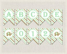 Mint Green Gold Baby Shower Banner Bunting   by PixieBabyShower