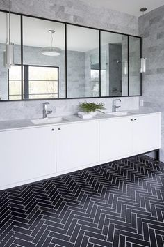 Looking for Bathroom and Double Vanity Bathroom ideas? Browse Bathroom and Double Vanity Bathroom images for decor, layout, furniture, and storage inspiration from HGTV. Bathroom Interior, Modern Bathroom, White Bathrooms, Herringbone Tile Floors, Bathroom Floor Tiles, Vanity Bathroom, Bathroom Caulk, Décor Boho, Beautiful Bathrooms