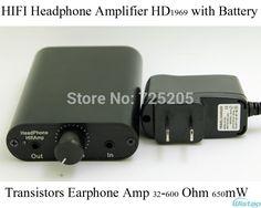 64.90$  Watch now - http://alisdg.worldwells.pw/go.php?t=2052000626 - HIFI Portable Headphone Amplifier Transistors Earphone Amp Class A HD1969 32-600 Ohm 650mW with 1400mAH Tube Taste Battery Black