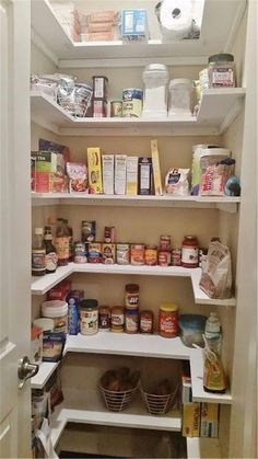 Kitchen Pantry Makeover, Replace wire shelves with wrap around wood shelving for…Painted Kitchen Cabinets, DIY and Pantry Cabinets Height.that have been securely screwed into your wall studs!Kitchen Pantry Ideas That Will Improve Your Kitchen Renov Kitchen Pantry Design, Diy Kitchen Cabinets, Kitchen Cabinet Organization, Kitchen Drawers, Kitchen Ideas, Soapstone Kitchen, Kitchen Countertops, Kitchen Pantries, Kitchen Inspiration
