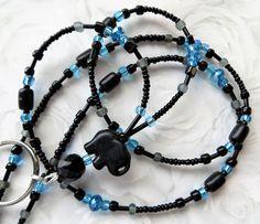 ELEPHANT ERA- Beaded ID Lanyard Badge Holder- Turquoise Elephant, Sparkling Crystals, and Wood Beads (Necklace Clasp) by CJsInspirations on Etsy