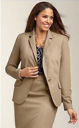 Khaki and brown are appropriate colors.
