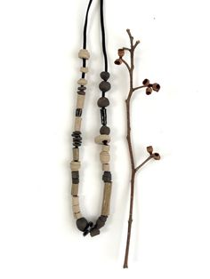 Modern bead necklace  Long Statement Necklace  Ceramic