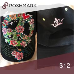 Peace sign embroidery baseball hat How cute is this hat? One size super soft fabric with this great looking peace sign decorated with flowers. Love this hat Accessories Hats