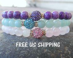 Set of 3 Yoga bracelet, Sugilite, Amazonite Rose Quartz Yoga set of 3 mala bracelets, Pave bracelets, Reiki Charged, Love set. Yoga set