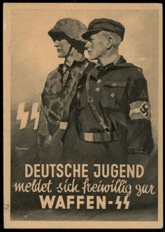 Click to view Waffen SS Hitler Youth Troops Recruiting Propaganda Card