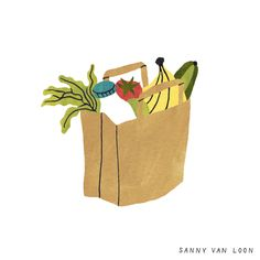 Illustration by Sanny van Loon from the book 'Creative Flow' • www.sannyvanloon.com | groceries