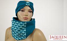 Set Stirnband und Schal petrol Herzen von Jaqueen auf DaWanda.com