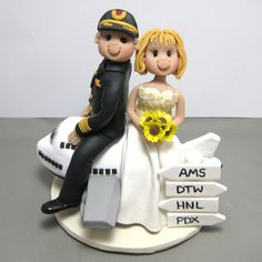 Reserved for Debi balance due for custom Pilot with airplane wedding cake topper by clayinaround on Etsy