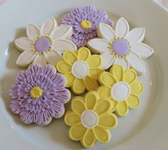 Purple and Yellow Flower decorated cookie favors by SayitwithHeart, $39.00