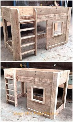 Incredible DIY Pallet Ideas and Projects This pallets wooden kid's bed house is crafted for the sweet and comfortable sleep of your kids. This is another mind-blowing creation by recycling wood pallets. It looks classic in organic wood Diy Kids Furniture, Diy Pallet Furniture, Repurposed Furniture, Bar Furniture, Furniture Movers, Wooden Furniture, Luxury Furniture, Recycling Furniture, Furniture Design