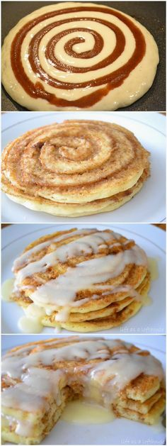 Cinnamon Roll Pancakes - make double the batter. The recipe will make enough for four small pancakes but have enough filling and frosting for a dozen. Next, chill the filling in the fridge so it thickens up. Tasted really good though! I'll make them again! ~Jv