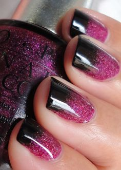 black and purple/pink Discover and share your nail design ideas on www.popmiss.com/nail-designs/