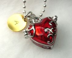 Personalized Red Heart Pendant Locket Charm by CharmAccents, $23.00