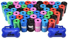 1000 Pet Waste Bags, Dog Waste Bags, Bulk Waste Bags on a roll, Clean up Pet Waste bag refills - (Color: Rainbow Paws) + 2 FREE Bone Dispensers by Downtown Pet Supply, http://www.amazon.com/dp/B00QUHIGI0/ref=cm_sw_r_pi_awdm_3d1Zwb174EPSN