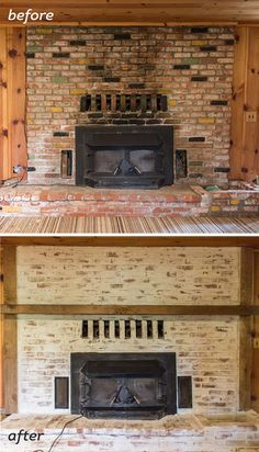 Newest Screen mortar washed Brick Fireplace Popular Mortar Wash Brick Fireplace Tutorial & Cottage Flip Update Fireplace Update, Fireplace Remodel, Brick Fireplace, Fireplace Ideas, Brick Wall, Fireplace Makeovers, Smeared Mortar, White Wash Brick, Fireplace Inserts
