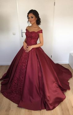 Off The Shoulder Burgundy Ball Gown Bridal Dresses,Shinning Satin Wedding Dresses 2018 on Luulla