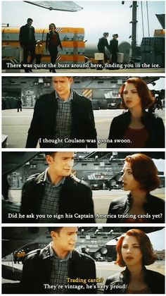 "The Avengers: Captain America/Steve Rogers & Black Widow/Natasha Romanoff - ""They're vintage. He's very proud."""