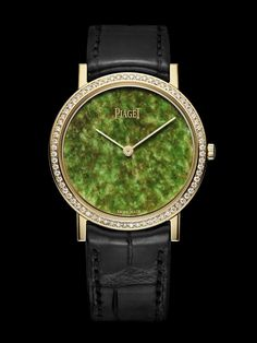 Piaget Altiplano watch, 34 mm. 18K yellow-gold case set with 72 brilliant-cut diamonds (approx. 0.5 ct). Jade dial. Numbered edition.