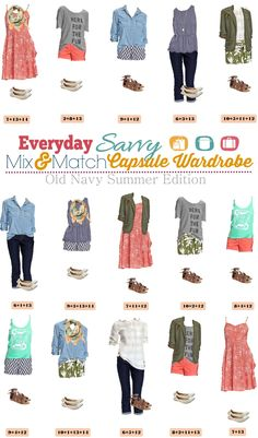 Old Navy Summer Capsule Wardrobe - Mix and Match Outfits