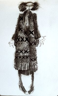 amanda henderson knits / quick ink illustration or go fast and messy, get the idea down.