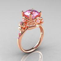 Modern Vintage 14K Rose Gold 2.5 Carat Light Pink Sapphire Wedding, Engagement Ring R167-14KRGLPS
