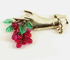 1940s Coro Sterling Silver Lucite Grapes  Brooch Pin  Fine