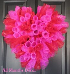 Hot Pink & Red Spiral Deco Mesh Valentine's Heart Wreath, Spring Easter Wreath, Teacher Classroom Decoration, Valentines Day Gift