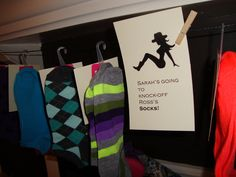 Socks as party favors for lingerie shower
