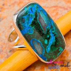 SZ 8.5 Genuine Malachite in Chrysocolla .925 SS Ring. Starting at $9 on Tophatter.com!