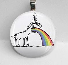 Glass Round Pendant Vomiting Unicorn Weird Cool Funny LEAD FREE Silver Bezel      I REALLY want this!