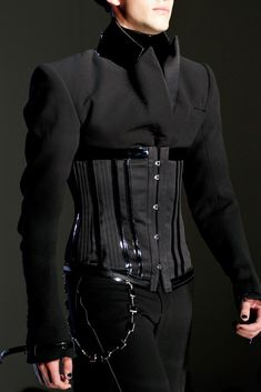 Men's Corset Detail, from Jean Paul Gaultier Fall 2012 Haute Couture collection † Fashion Mode, Look Fashion, Runway Fashion, High Fashion, Fashion Show, Mens Fashion, Fashion Outfits, Fashion Design, Fashion Trends