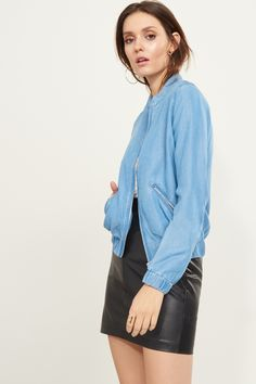 You'll want to toss this Tencel bomber jacket over everything - Denim Bomber Jacket with Zips