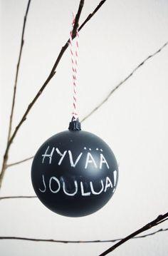 Hyvaa Joulua~      Chalkboard paint on christmas bulb